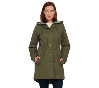 """As Is"" Denim & Co. Zip Front Parka with Pattern Hood Detail - A277536"