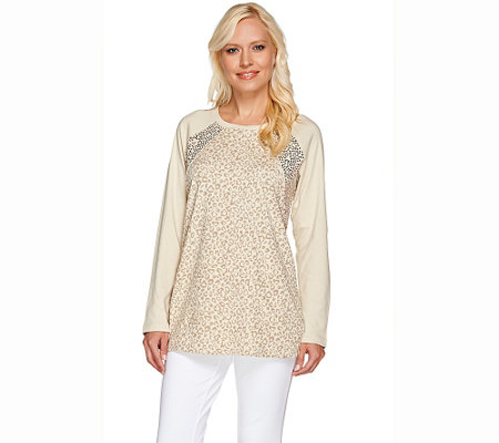 """As Is"" Quacker Factory Animal Print Sequin Raglan Long Sleeve Tunic"