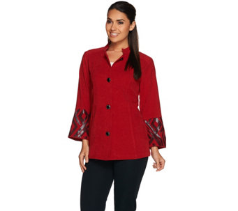 Bob Mackie's Button Front Moleskin Jacket with Sequin Cuff Detail - A279236