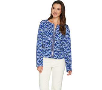 C. Wonder Cropped Woven Jacket with Jacquard Trim Detail - A279336