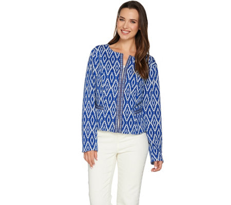 C. Wonder Cropped Woven Jacket with Jacquard Trim Detail