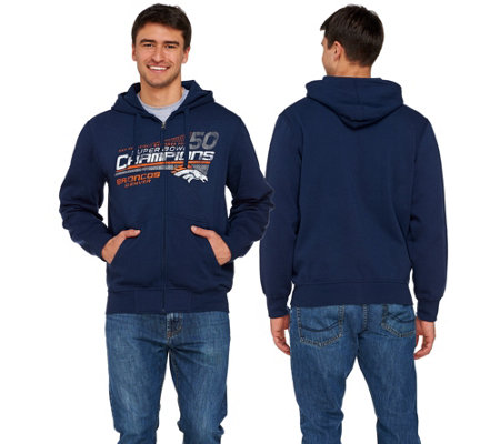 NFL Super Bowl 50 Champions Denver Broncos Zip Up Mens Hoodie