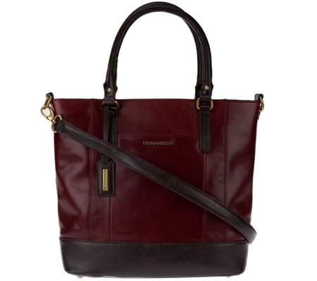 """As Is"" Tignanello Glazed Vintage Leather Shopper Bag"