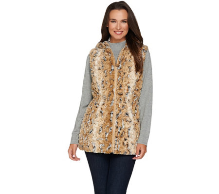 Dennis Basso Faux Fur Animal Print Vest with Hood