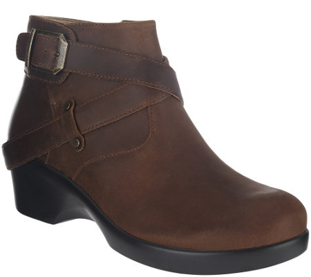 """As Is"" Alegria Leather Ankle Boots w/ Strap Details - Eva"