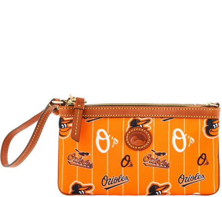 Dooney & Bourke MLB Nylon Orioles Large Slim Wristlet