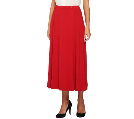 """As Is"" Linea by Louis Dell'Olio Knit Skirt wtih Faux Wrap and Button"