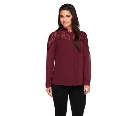 """As Is"" Dennis Basso Long Sleeve Button Down Top with Lace Detail"