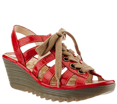 """As Is"" FLY London Multi-Strap Lace-up Wedge Sandals - Yito"