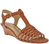 """As Is"" Isaac Mizrahi Live! Leather Fisherman Low Wedge Sandals - A283836"