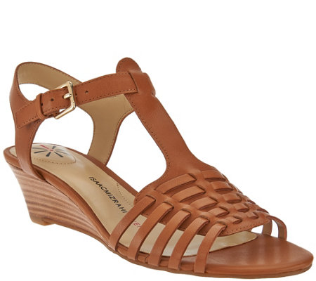 """As Is"" Isaac Mizrahi Live! Leather Fisherman Low Wedge Sandals"