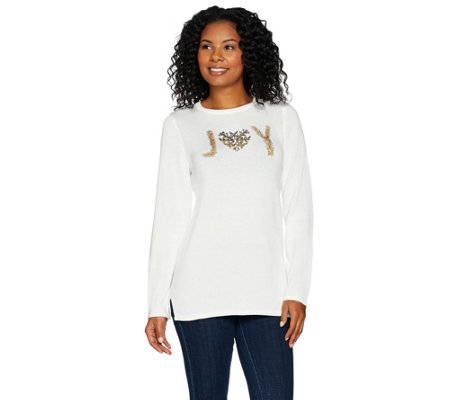 Quacker Factory JOY Lurex Long Sleeve Pullover Sweater