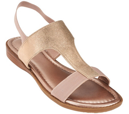 """As Is"" Me Too Metallic T-strap Sandals with Goring - Zoey"