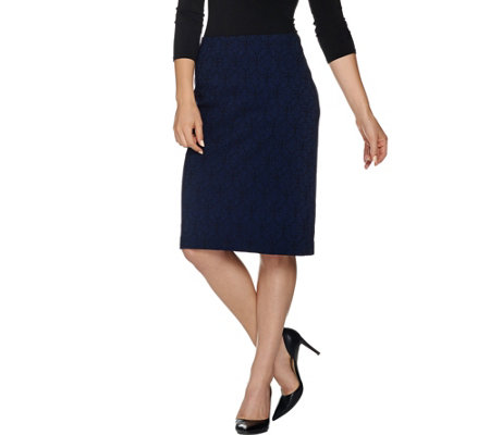 Dennis Basso Solid Jacquard Pencil Skirt