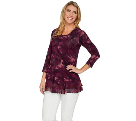 LOGO by Lori Goldstein Printed Knit Top with Chiffon Trim