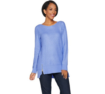 C. Wonder Novelty Stitch Pullover Sweater with Side Zip Detail - A286436