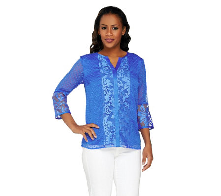 """As Is"" Isaac Mizrahi Live! 3/4 Sleeve Embroidered Damask Top"