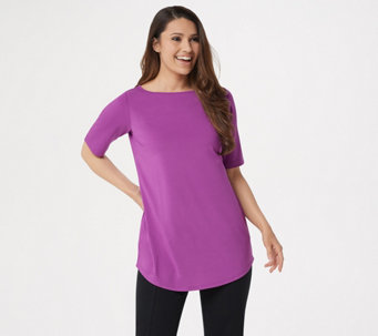 Joan Rivers Jersey Knit Long Tee Shirt with Shirt Tail Hem - A287636