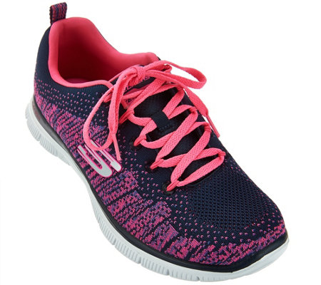 """As Is"" Skechers Flat Knit with Memory Foam Sneakers -Jump"