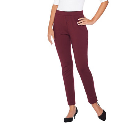 """As Is"" Susan Graver Ponte Knit Pull-On Leggings with Seam Detail"