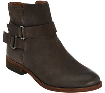 """As Is"" Franco Sarto Leather Ankle Boots w/ Buckle Detail - Harwick - A290136"