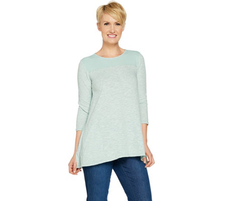 LOGO by Lori Goldstein Slub Knit Swing Top with Rib Details