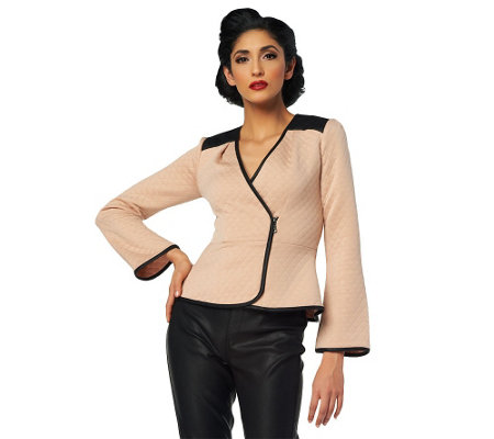 """As Is"" Project Runway by Seth Aaron Wrap Jacket with Peplum Detail"