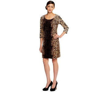 """As Is"" Isaac Mizrahi Live! Animal Print Knit Velvet Dress - A291436"