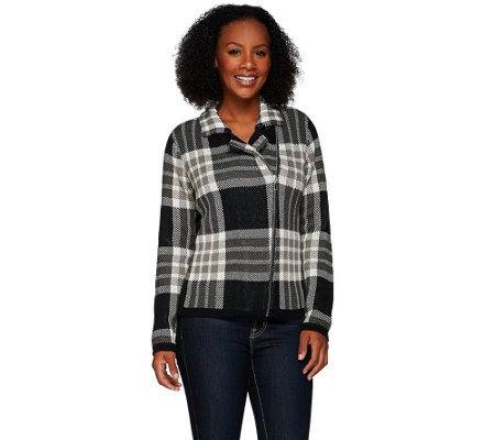 """As Is"" Isaac Mizrahi Live! Jacquard Plaid Sweater Motor Cycle Jacket"