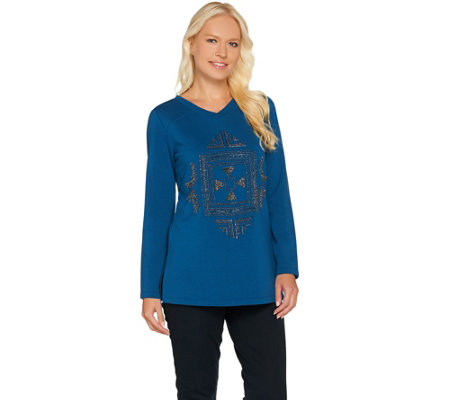 """As Is"" Susan Graver Artisan Embellished French Terry Tunic"