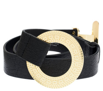 """As Is"" Susan Graver Belt with Textured Toggle Buckle - A292136"