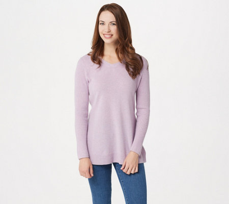Isaac Mizrahi Live! 2-Ply Cashmere V-neck Tunic Sweater