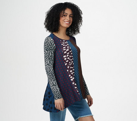 LOGO by Lori Goldstein Multi Print Long Sleeve Knit Top