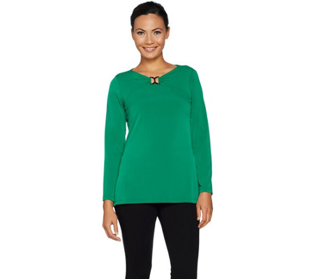 Susan Graver Liquid Knit Top with Keyhole Trim