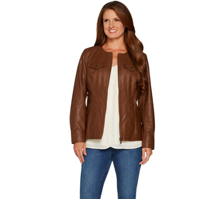 Belle by Kim Gravel Faux Leather Distressed Jean Jacket
