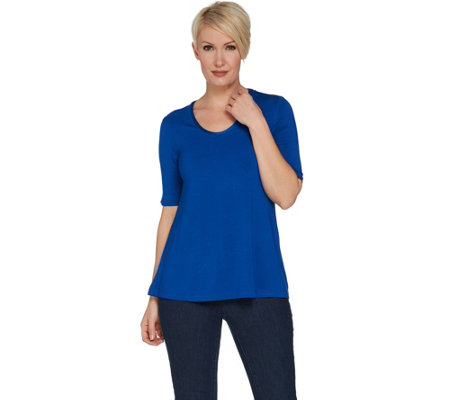 H by Halston Essentials Elbow Sleeve U-Neck Top
