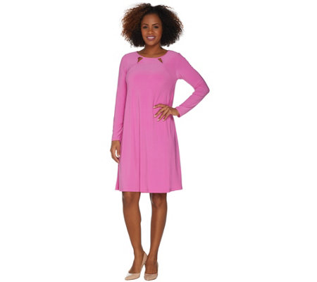 Attitudes by Renee Regular Como Jersey Dress w/ Double Keyhole Detail