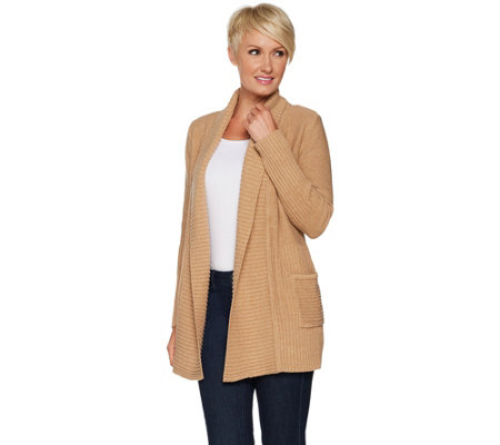 """As Is"" H by Halston Mix Stitch Ribbed Open Front Cardigan"