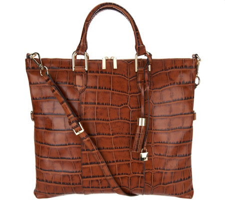 """As Is"" G.I.L.I. Croco Italian Leather Convertible Satchel"