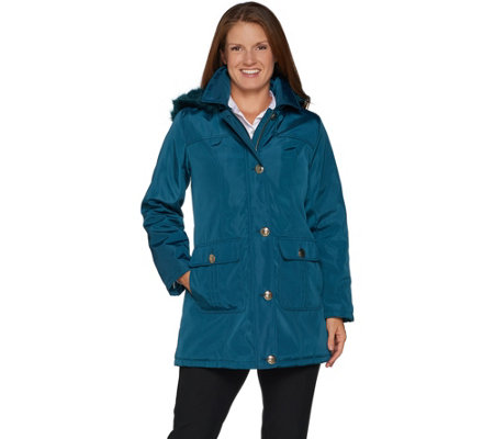 """As Is"" Dennis Basso Water Resistant Coat with Removable Hood"