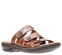 Clarks Leather Lightweight Triple Strap Slides- Leisa Lakia - A364936