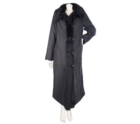 Dennis Basso Full Length Water Resistant Coat with Faux Fur Lining