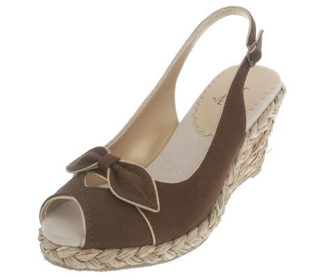 LBE by Sam Edelman Peep Toe Sandals on Raffia Wedge