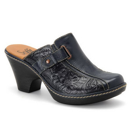 Sofft Dory Tooled Leather Clogs