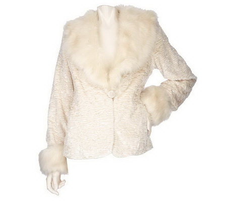 Dennis Basso Faux Fur Coat with Faux Fur Maxi Collar