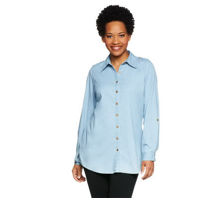 Denim & Co. Long Sleeve Lightweight Stretch Denim Big Shirt Tunic