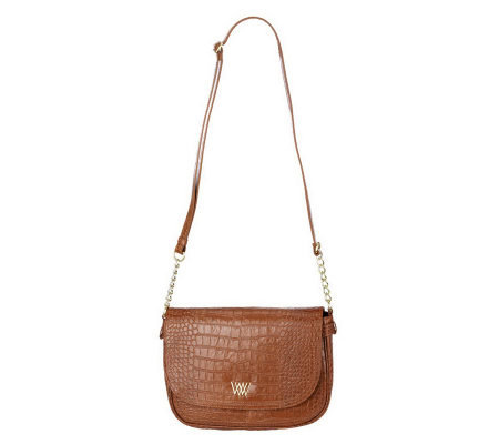 Croco Embossed Leather Crossbody Bag