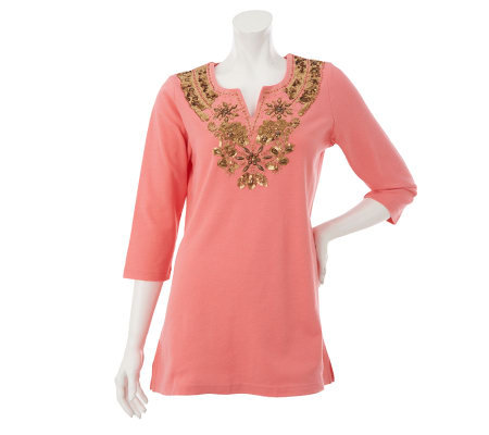 Quacker Factory Tunic w/ Sequin & Beaded Embellished Neckline