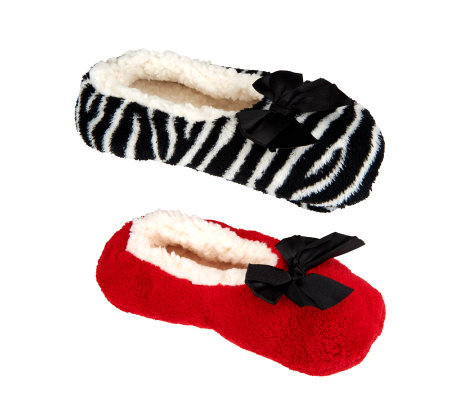 Passione Set of 2 Plush Slippers w/ Slip Resistant Bottoms