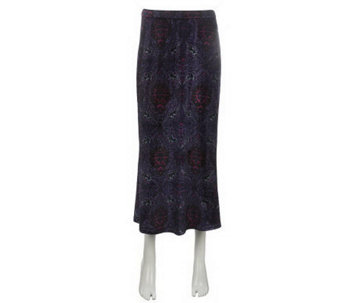 Linea by Louis Dell'Olio Flat Front Printed Velvet Skirt - A228337